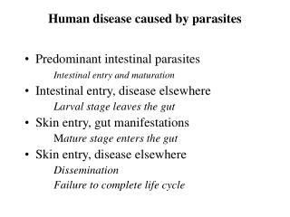 Human disease caused by parasites