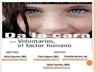 Clara  Segarra ,  MSc. csegarra@espol.edu.ec