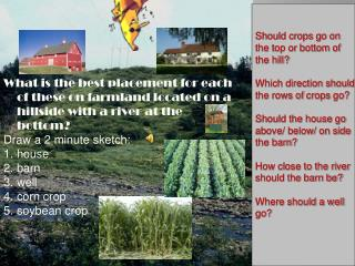 Should crops go on the top or bottom of the hill? Which direction should the rows of  crops  go ?