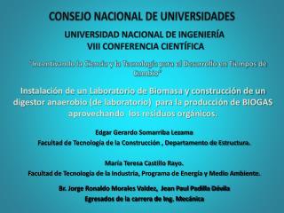 UNIVERSIDAD NACIONAL DE INGENIERÍA  VIII CONFERENCIA CIENTÍFICA