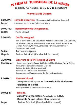 IV FIESTAS  TURISTICAS DE LA SIERRA