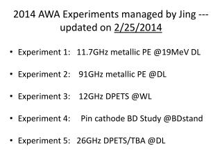 2014 AWA Experiments managed by Jing ---updated on  2/25/2014