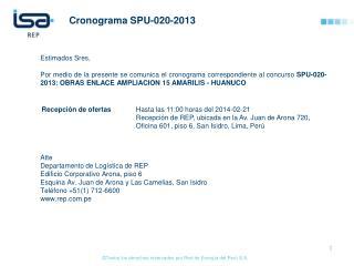 Cronograma  SPU-020-2013