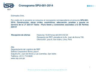 Cronograma  SPU-001-2014