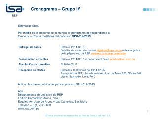 Cronograma – Grupo IV