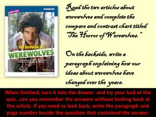 Theme Quiz adn Review Work with Werewolves and Haunted Houses 10 24 13