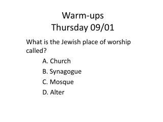 Warm-ups Thursday 09/01