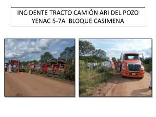 INCIDENTE TRACTO CAMIÓN ARI DEL POZO YENAC  5-7A  BLOQUE  CASIMENA