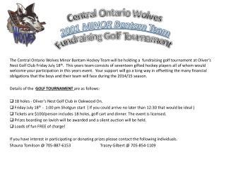 Central Ontario Wolves 2001 MINOR Bantam  Team Fundraising Golf Tournament