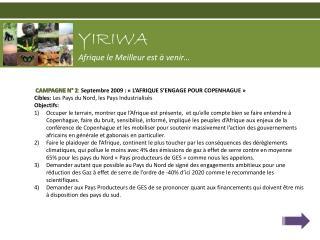 CAMPAGNE N° 2 :  Septembre 2009 : «L'AFRIQUE S'ENGAGE POUR COPENHAGUE»