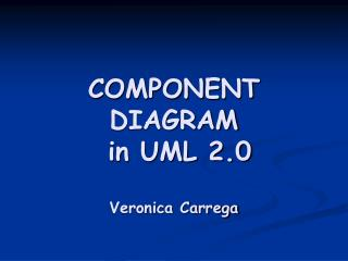 COMPONENT DIAGRAM  in UML 2.0  Veronica Carrega