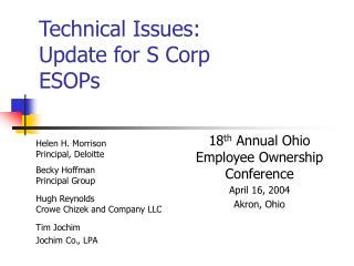 Technical Issues: Update for S Corp ESOPs