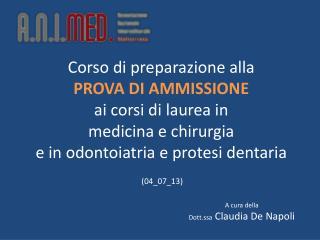 A cura della  Dott.ssa  Claudia De Napoli