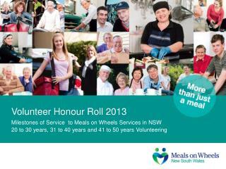 Volunteer Honour Roll 2013