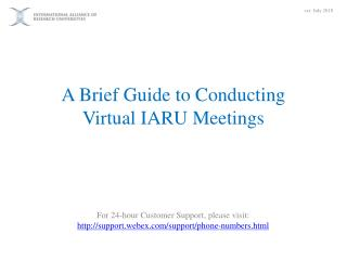 A Brief Guide to Conducting Virtual IARU Meetings