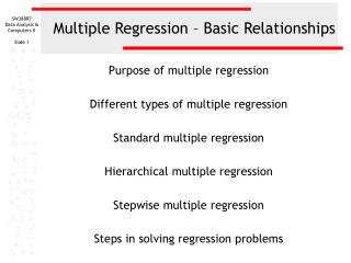 Multiple Regression   Basic Relationships