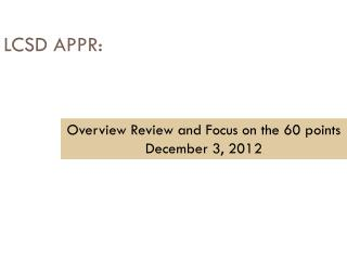 LCSD  APPR: