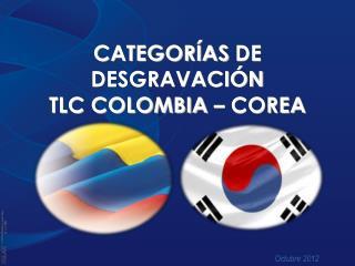 CATEGOR�AS  DE DESGRAVACI�N TLC COLOMBIA � COREA