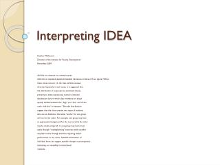 Interpreting IDEA