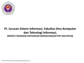 for further detail, please visit http://library.gunadarma.ac.id