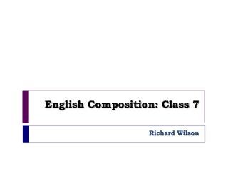 English Composition: Class 7