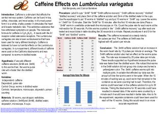 Caffeine Effects on  Lumbriculus variegatus