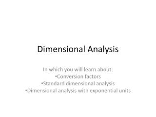 Dimensional Analysis