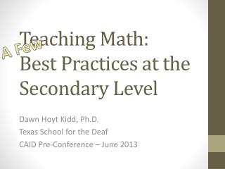 Teaching Math: Best Practices at the Secondary Level