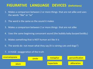 FIGURATIVE   LANGUAGE   DEVICES   (Definitions)