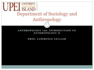 Department of Sociology and Anthropology