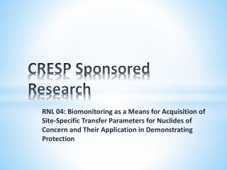 CRESP Sponsored Research