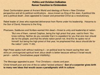 Politics and Christian Civilization  Roman Transition to Christendom