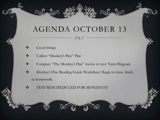 Agenda October 13