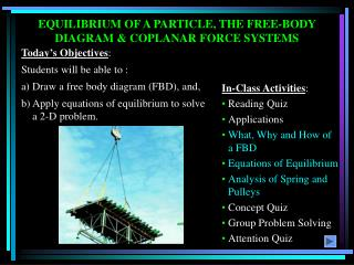 EQUILIBRIUM OF A PARTICLE, THE FREE-BODY DIAGRAM & COPLANAR FORCE SYSTEMS