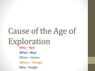 Cause of the Age of Exploration