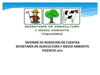 INFORME DE RENDICIÓN DE CUENTAS SECRETARÍA DE AGRICULTURA Y MEDIO AMBIENTE VIGENCIA 2012