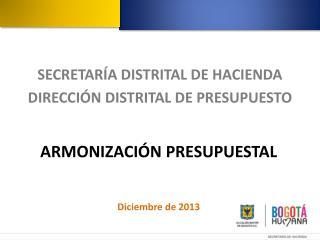 ARMONIZACIÓN PRESUPUESTAL Diciembre de  2013
