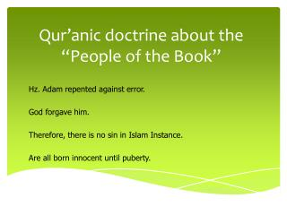 "Qur'anic  doctrine about the ""People of the Book"""