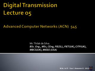 Digital Transmission Lecture o5 Advanced Computer Networks (ACN)  545