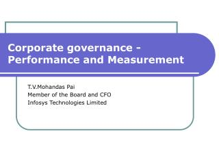 Corporate governance -  Performance and Measurement