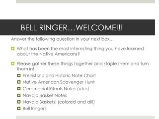 BELL RINGER…WELCOME!!!