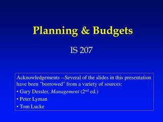 Planning  Budgets