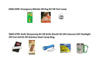 $400-$599: Emergency Whistle OR Bug Kit OR Tent Lamp
