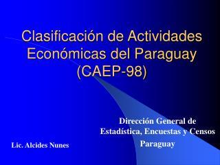 Clasificaci n de Actividades Econ micas del Paraguay CAEP-98