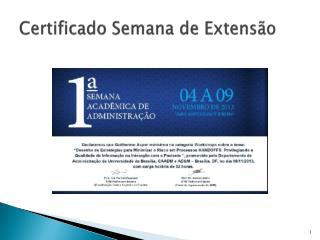 Certificado Semana de Extensão