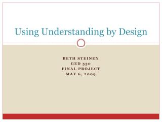 Using Understanding by Design