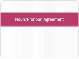 Noun/Pronoun Agreement