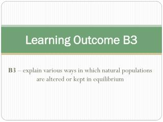 Learning Outcome B3