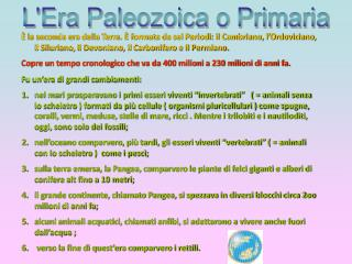 Approfondimenti:  Era Paleozoica o Primaria