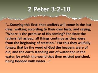 2 Peter 3:2-10